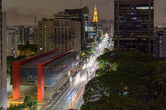 Night view of the famous Paulista Avenue. Financial center of the city and one of the main places of São Paulo, Brazil Stock Image