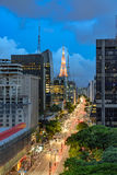 Night view of the famous Paulista Avenue. Financial center of the city and one of the main places of São Paulo, Brazil Royalty Free Stock Photos