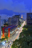 Night view of the famous Paulista Avenue. Financial center of the city and one of the main places of São Paulo, Brazil Royalty Free Stock Image