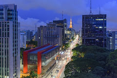 Night view of the famous Paulista Avenue. Financial center of the city and one of the main places of São Paulo, Brazil Stock Photos