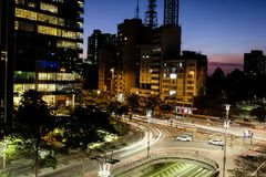 Night view of the famous Paulista Avenue, financial center of the city and one of the main places of Sao Paulo, Brazil. Night view of the famous Paulista Avenue stock image