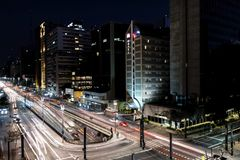 Night view of the famous Paulista Avenue, financial center of the city and one of the main places of Sao Paulo, Brazil stock images