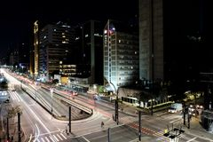 Night view of the famous Paulista Avenue, financial center of the city and one of the main places of Sao Paulo, Brazil. Night view of the famous Paulista Avenue stock images