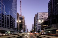 Night view of the famous Paulista Avenue, financial center of the city and one of the main places of Sao Paulo, Brazil. Night view of the famous Paulista Avenue stock photography