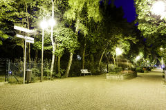 Night view of the famous promenade in Jurata Royalty Free Stock Images