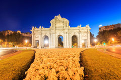 Night view of the famous Puerta de Alcala, Madrid Royalty Free Stock Images