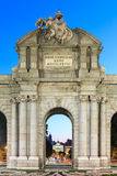 Night view of the famous Puerta de Alcala, Madrid Stock Photos