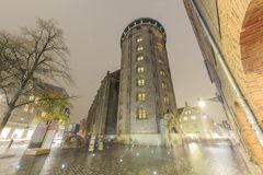 Night view of the famous round tower, Copenhagen Royalty Free Stock Images