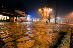 Night view of famous Sebilj wooden fountain in Sarajevo Stock Image