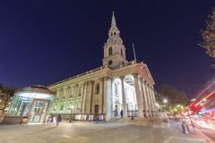 Night view of the famous St Martin-in-the-fields, London, United. London, NOV 13: Night view of the famous St Martin-in-the-fields on NOV 13, 2015 at London Stock Images