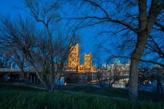 Night view of the famous tower bridge of Sacramento. California stock photography