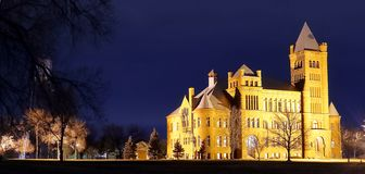 Night view of the famous Westminster Castle at Westminster, Colorado royalty free stock images
