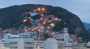 Night view of favela near Copacabana in Rio de Janeiro Royalty Free Stock Images
