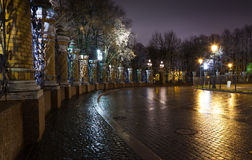 Night view of the Fence of the Mikhailovsky Garden Stock Photography