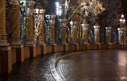 Night view of the Fence of the Mikhailovsky Garden Stock Images
