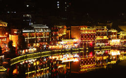 Night view of fenghuang ancient town Royalty Free Stock Photos