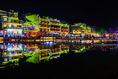 Night view of fenghuang ancient town Stock Images