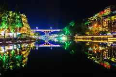 Night view of fenghuang ancient town Stock Image