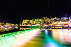 Night view of fenghuang ancient town Stock Photos