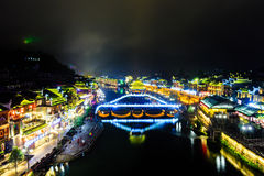 Night view of fenghuang ancient town Stock Photo