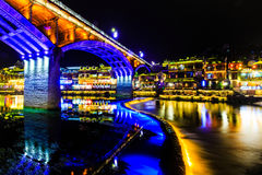 Night view of fenghuang ancient town Royalty Free Stock Images