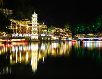 Night view Fenghuang, Hunan province, China. Fenghuang-Phoenix County at night, lighting the colorful, like a dream and magic. Fenghuang, located in the Royalty Free Stock Photos