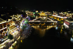 Night view Fenghuang, Hunan province, China. Fenghuang-Phoenix County at night, lighting the colorful, like a dream and magic. Fenghuang, located in the Royalty Free Stock Photography