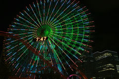 Night view of the Ferris wheel of the amusement park. Japan, illuminations night view of the Ferris wheel of the amusement park of Yokohama -city Royalty Free Stock Image