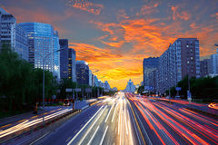 Night view of finance street, Beijing city china. Cityscape, skyline, finance street sunset, vehicles in motion royalty free stock photography