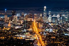 Night view of the Financial District, San Francisco, California stock photography