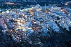 Night view of Fira, Santorin Royalty Free Stock Photos