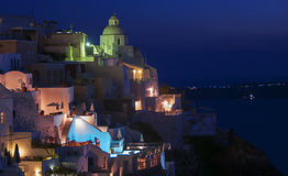 Night view from Fira , Santorini Royalty Free Stock Photos