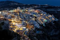 Night view of Fira, Santorini island Stock Images