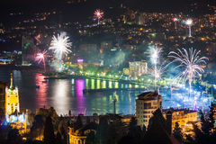 Night view and firework at Yalta city, Crimea, Ukraine Royalty Free Stock Images
