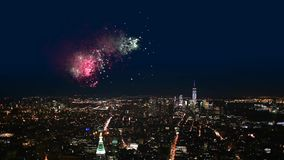 Night view with fireworks of Manhattan. stock video