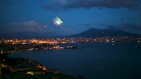 Night view with fireworks of Naples, Italy stock video
