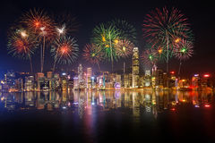Night view and fireworks at victoria harbour Royalty Free Stock Images