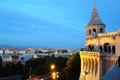 Night view from the Fisherman's Bastion. The Fisherman's Bastion is a terrace in neo-Gothic and neo-Romanesque style situated on the Buda bank of the Danube, on Stock Photo