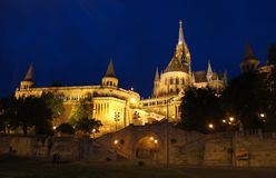Night view of Fisherman`s Bastion and Matthias church, Budapest, Hungary stock images