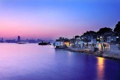 Night view from fishing village Royalty Free Stock Image