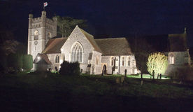 Night view of floodlit Hambledon Parish Church. The 12th century church of St Mary the Virgin in the village of Hambledon Buckinghamshire England. Taken at night stock image