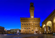 Night view of Florence Palazzo Vecchio in Piazza della Signoria in Florence. Italy Royalty Free Stock Photography