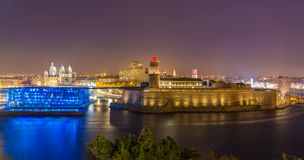 Night view of Fort Saint-Jean and Cathedral in Marseille, France Royalty Free Stock Images