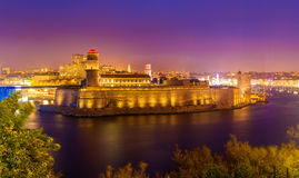 Night view of Fort Saint-Jean in Marseille Royalty Free Stock Images