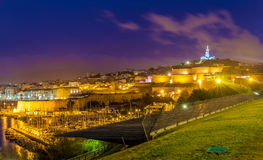 Night view of Fort St. Nicolas and Notre-Dame-de-la-Garde in Mar. Seille, France Royalty Free Stock Photography
