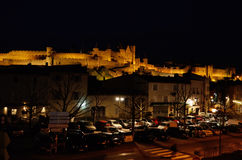Night view of the fortified city of Carcassonne Stock Image