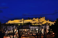 Night view of the fortified city of Carcassonne Stock Images