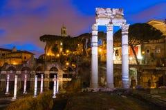 Night view of Forum of Caesar in Rome Stock Photo