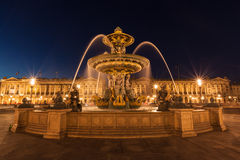 Night view of the fountain at the Place de la Concorde Royalty Free Stock Photography
