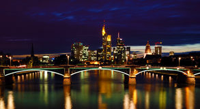 Night View of Frankfurt Skyline Royalty Free Stock Images